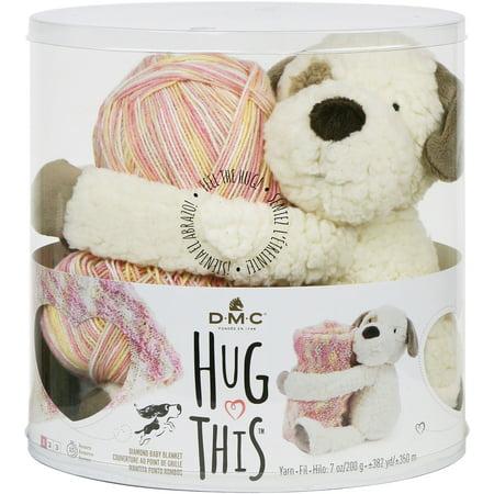 DMC Baby Blanket Gift Set - Pattern, Yarn, Plush Toy - Hug This Puppy Mountain Colors Yarn Pattern