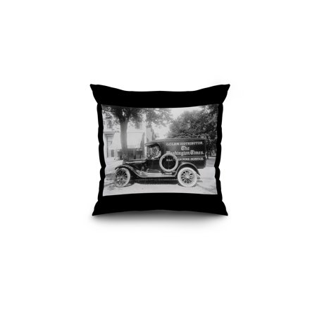 Washington Times Newspaper Truck Photograph  16X16 Spun Polyester Pillow  Black Border