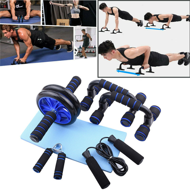 AB Wheel Roller Push Up Bar Jump Rope Fitness Workout Train ...