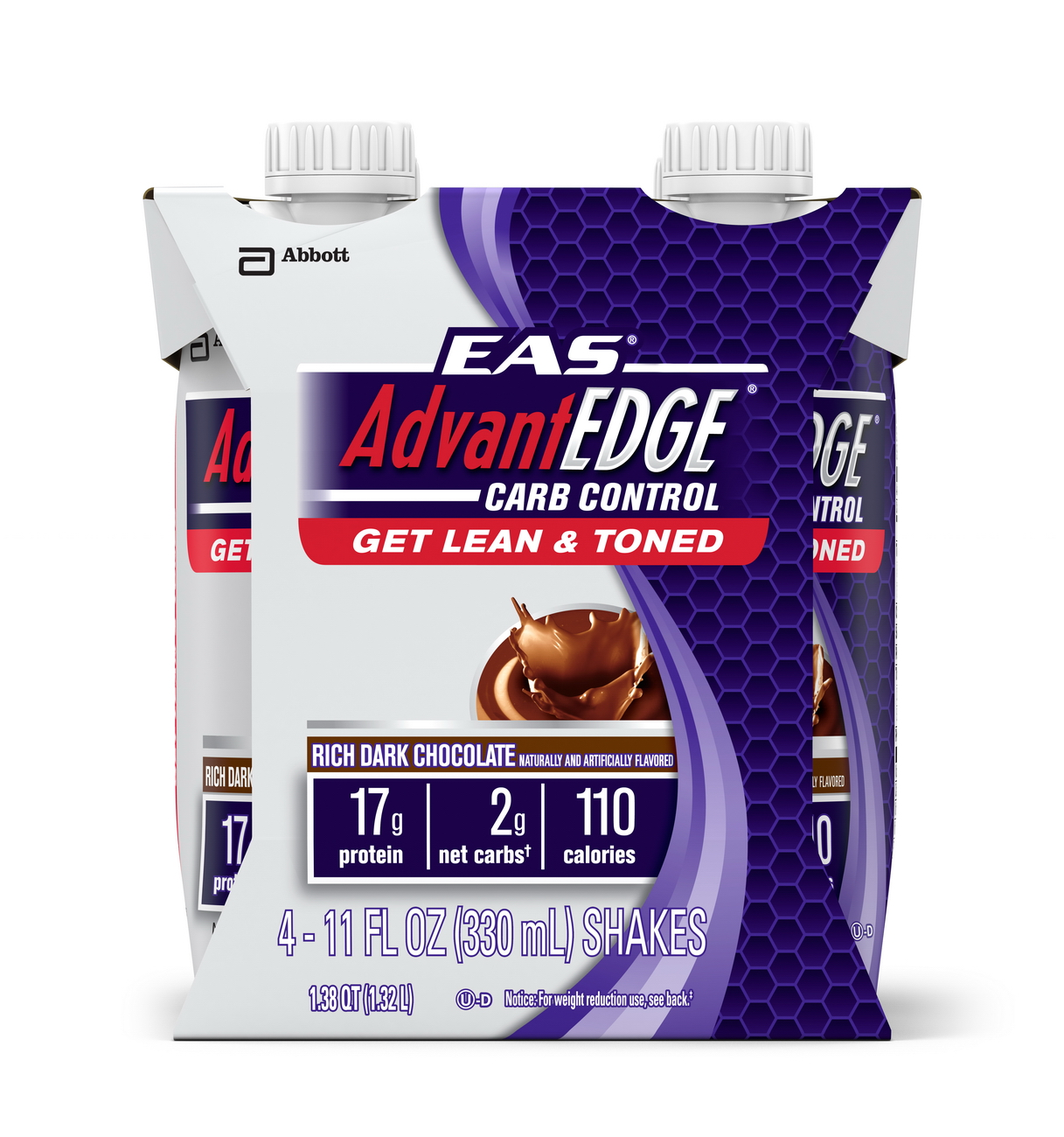 EAS AdvantEDGE Carb Control Ready-to-Drink Shake, Rich Dark Chocolate, 11 fl oz (Pack of 4)