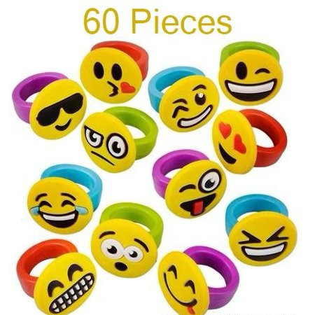 1 Inch Emoticon Rubber Rings Emojis - 60 Pieces - Variety Of Funny Expressions And Smileys - Great Party Favor – By Kidsco](Party Smiley Face)