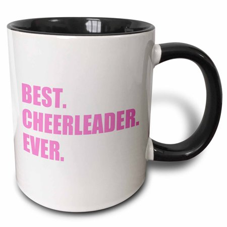 3dRose Pink Best Cheerleader Ever - greatest head or team cheerleading girl - Two Tone Black Mug, (Best Tones For Girls)