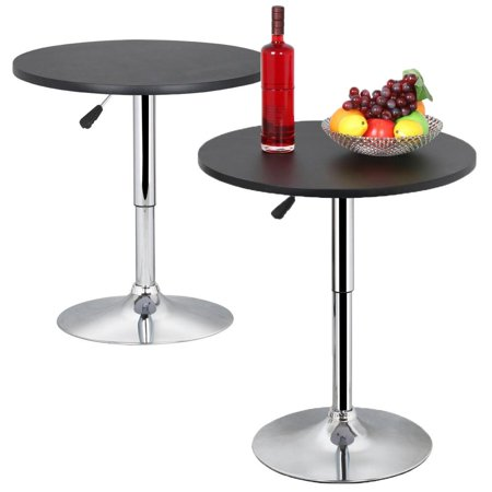 Topeakmart Set of 2 Modern Round Bar Table Adjustable Bistro Pub Counter Swivel Cafe Tables Black
