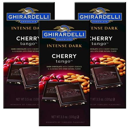 (3 Pack) Ghirardelli Chocolate Intense Dark Cherry Tango Bar, 3.5 -