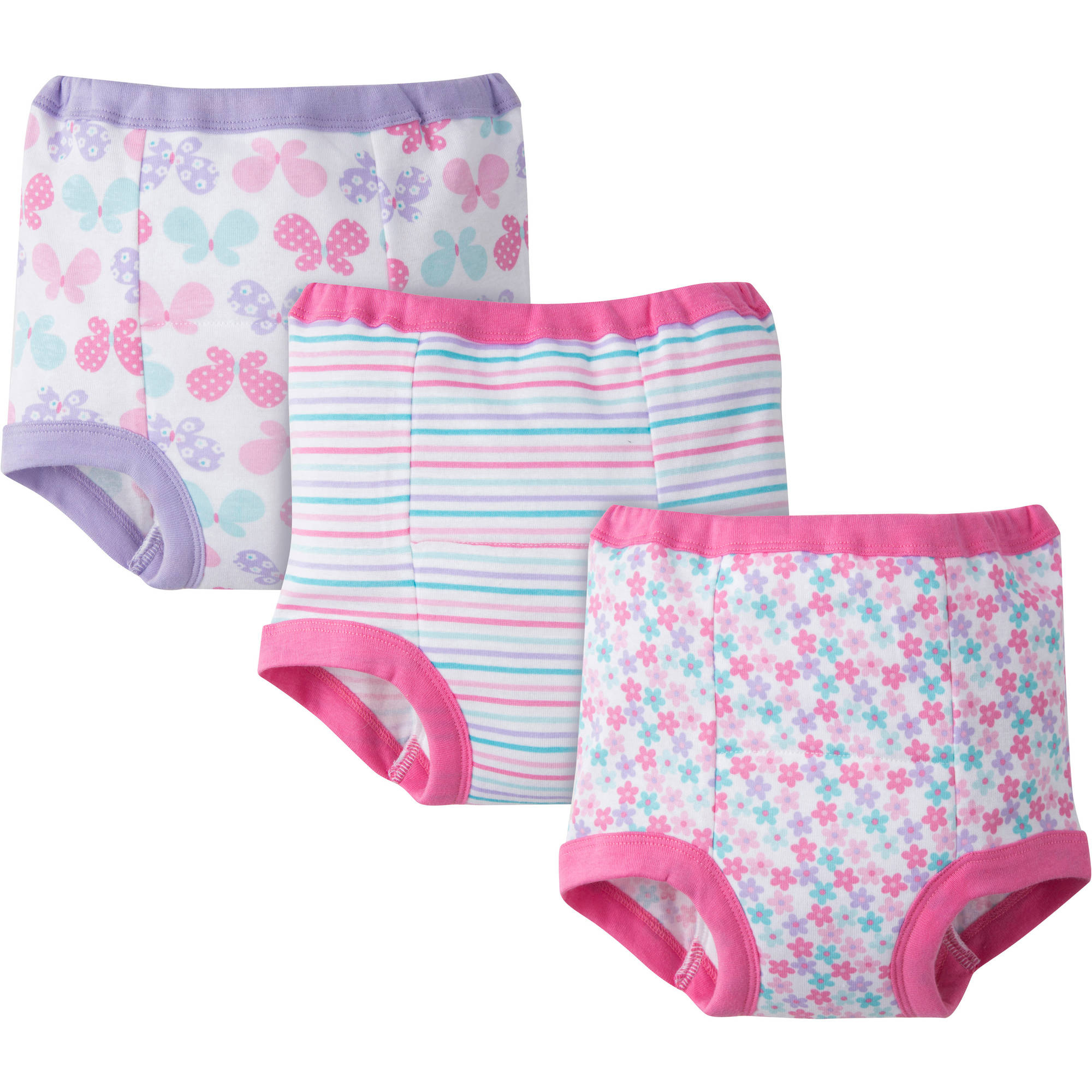 Gerber Toddler Girl's Assorted Training Pants, 3-Pack