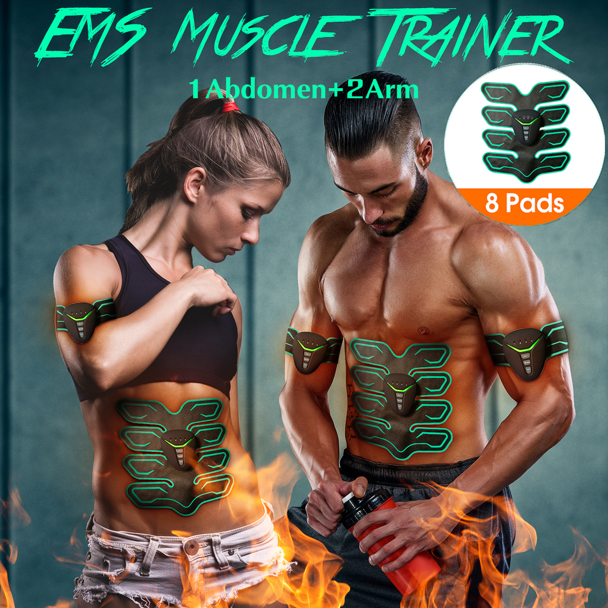 6 Modes ABS Stimulator, Abdominal Muscle Trainer Muscle Stimulation Smart Body Building Fitness Ab Core em Toners Workout