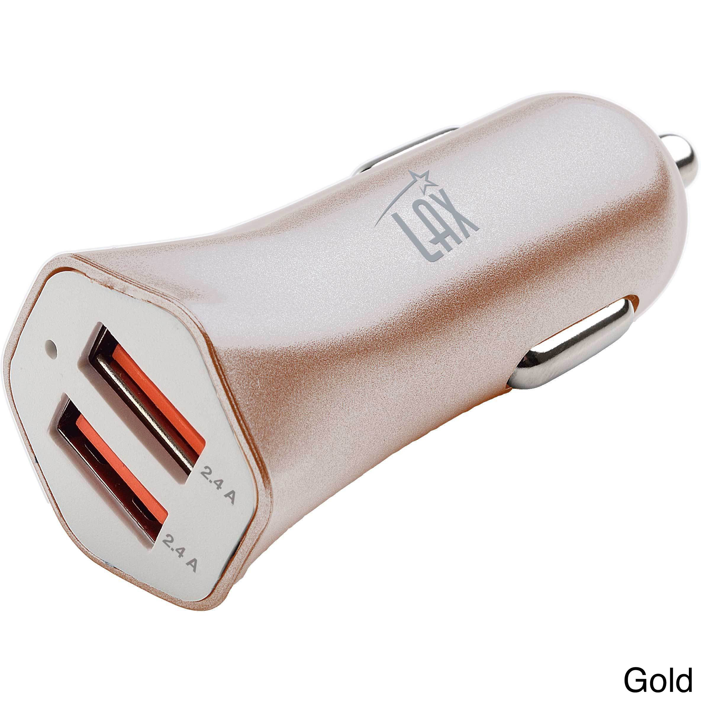 LAX Gadgets Dual USB 4.8A Fast Car Charger for iPhone 6S Plus 6 Plus 6 5 SE 5S 5 5C 4S, Samsung Galaxy S7 S6 Edge Plus Note 5 4 S5 Tab S, LG, HTC, Nexus, iPad Cigarette Lighter Power Adapter