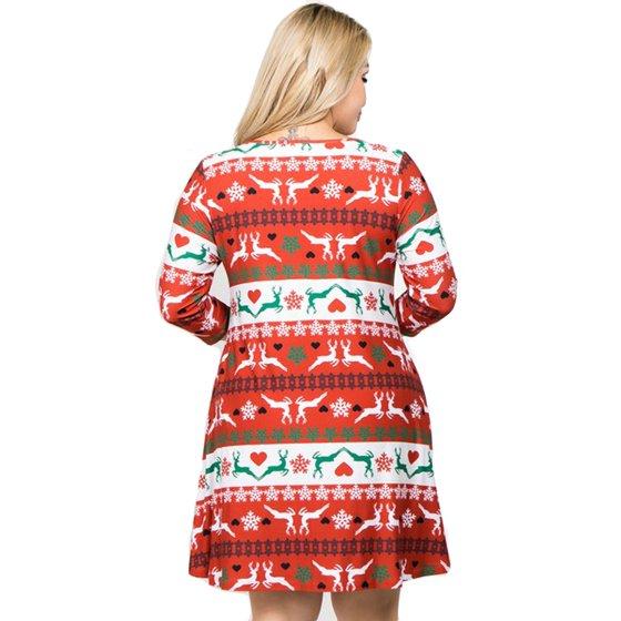 3cc7f8a830e6e Women's Fair Isle Reindeer Print Christmas Dress (Plus Size)