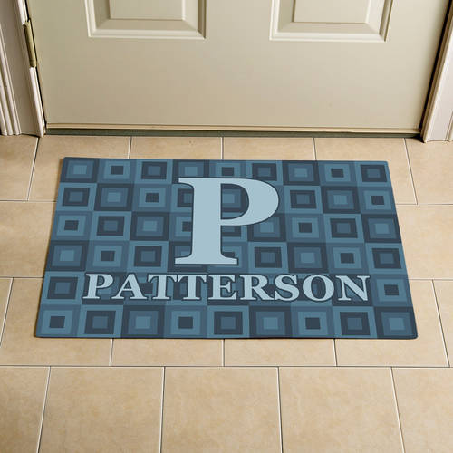 "Personalized Square Initial and Name Doormat, Blue, 17"" x 27"""