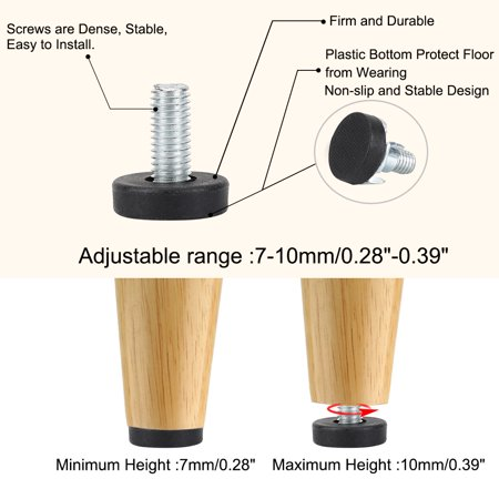 M8 x 18 x 22mm Leveling Feet Protector with T-nuts for Home Furniture 8pcs - image 5 de 8