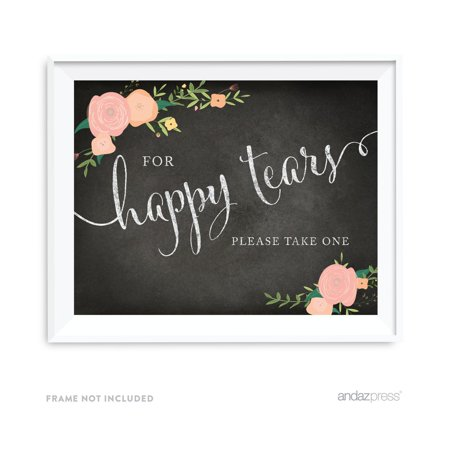 For Happy Tears Tissue Chalkboard & Floral Roses Wedding Party Signs](Happy Birthday Chalkboard Sign)