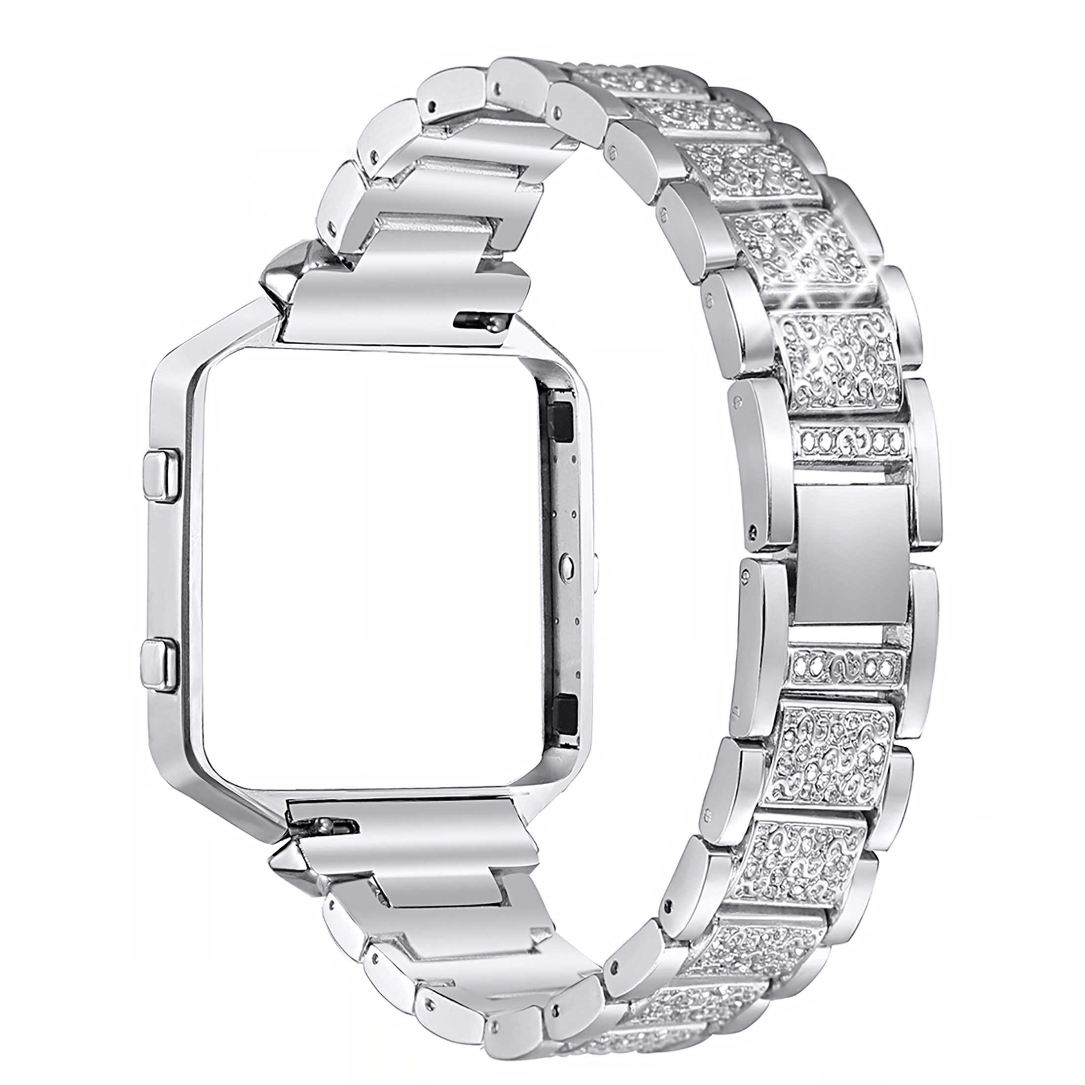 For Fitbit Blaze Bands, bayite Metal Watch Bands Strap with Rhinestone Stainless Steel Frame Replacement Accessory Bracelet Silver