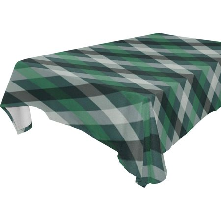POPCreation Black White Green Stripe Tablecloth 52x70 inches