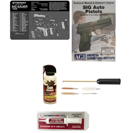 Gunsmith Cleaning Gun Mat SIG Sauer SIG P229 + Compact Pocket Sized  Cleaning Kit + American Gunsmithing Institute DVD Pistols Armorer's Course  + Gun