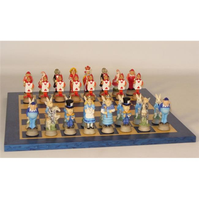 Royal Chess Set with Blue Tan Board Alice in Wonderland by WorldWise Imports