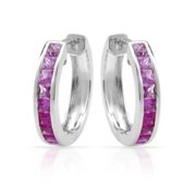 ASHER JEWELRY 14k White Gold Pink Sapphire Graduated Hoop Earrings