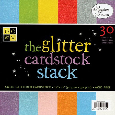 - Glitter Paper Stack 12X12 30 Sheets/Pad