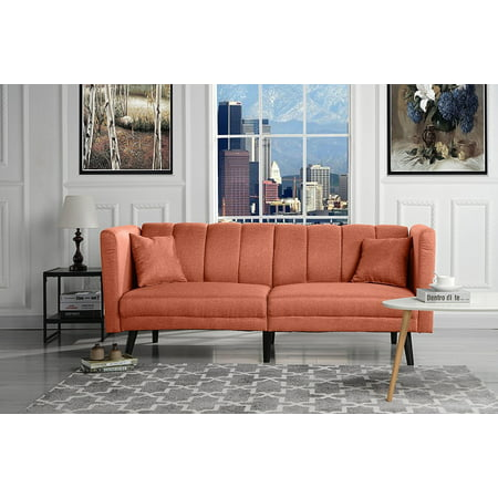 Mid Century Modern Plush Tufted Linen Fabric Living Room Sleeper Futon (Orange) - Mid Century Pottery