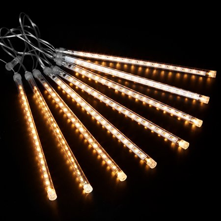Finether 13.1 ft 8 Tube 144 LED Meteor Shower Rain Snowfall Plug-In String Lights for Holiday Christmas Halloween Party Indoor Outdoor Decoration Commercial Use,Colorful ()