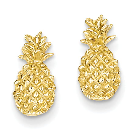 14k Polished & Textured Pineapple Post Earrings