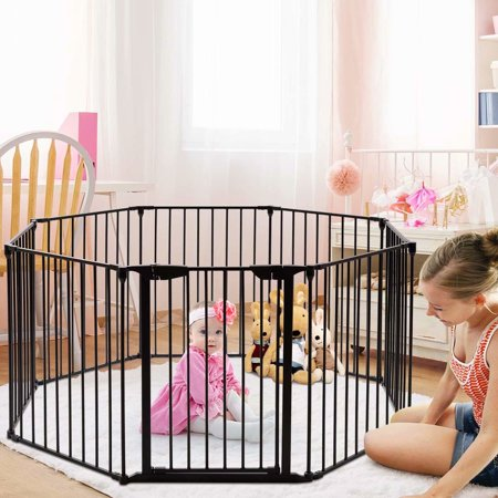 Baby Safety Gate, Fireplace Fence, Wide Barrier with Walk-Through Door in Two Directions, Add/Decrease Panels Directly, Wall-Mount Metal Gate for Pet & Child (Black, 6-Panel)
