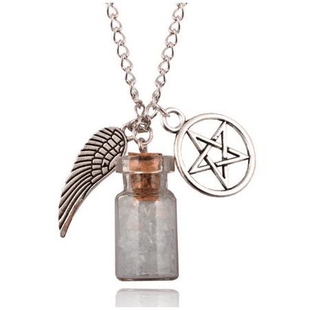 Rock Salt Bottle With Angel Wing And Pentagram Protection Necklace Supernatural