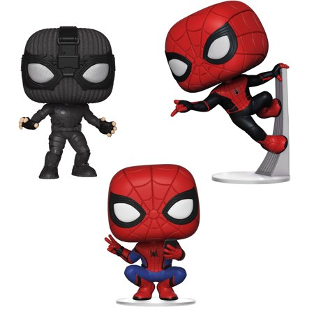 Funko POP! Marvel Spider-Man Far From Home Collectors Set - Spider Man Stealth Suit, Spider Man Hero Suit, Spider Man Upgraded -
