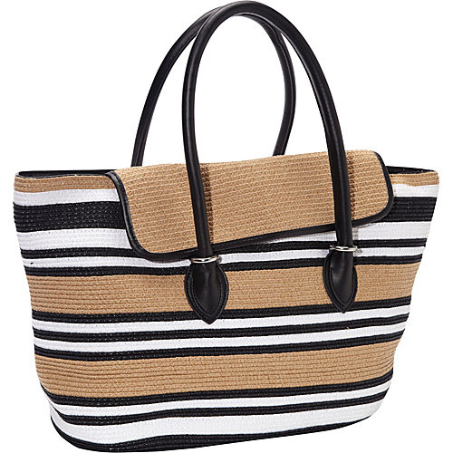 Magid Mix Stripe Paper Straw Tote