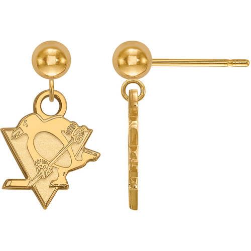 LogoArt NHL Pittsburgh Penguins 14kt Gold-Plated Sterling Silver Dangle Ball Earrings