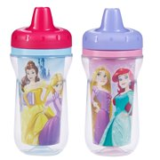 Disney Princess Insulated Hard Spout Sippy Cups With One Piece Lid, 9 Ounce, 2 Pack