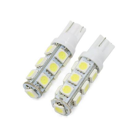 2 Pcs T10 W5w Car Bulbs 13 Led 5050 Smd White Lamp Parking