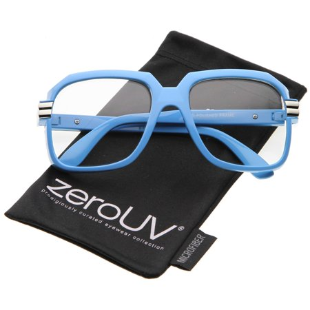zeroUV - Large Colored Metal Accent Temple Clear Lens Square Glasses 55mm - 55mm Large Colored Square Glasses With Clear Lenses & Metal Accented Temple