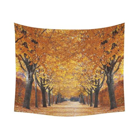 GCKG Road Yellow Leaves Maple Tree Autumn Tapestry Wall Hanging Yellow and Black Trunk Fall Wall Decor Art for Living Room Bedroom Dorm Cotton Linen Decoration 51 x 60 Inches for $<!---->