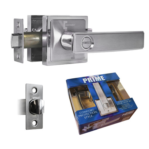 Constructor PRIME Privacy Door Lever Handle Lock Set for Bedroom and Bathroom Satin Nickel Finish