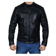 Men Black Real Leather Jacket with Quilted Shoulders