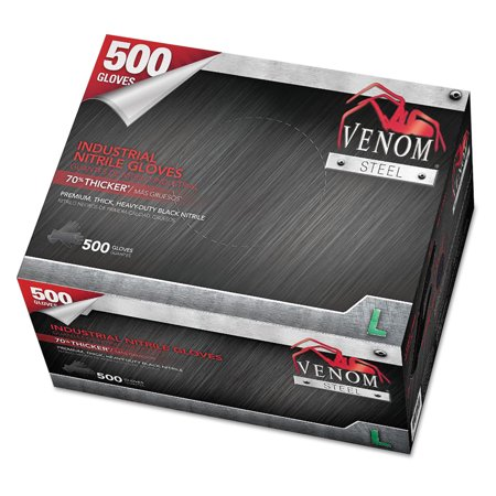 Medline Venom Steel Industrial Nitrile Gloves, Large, Black, 8 mil, 500 Gloves/Box