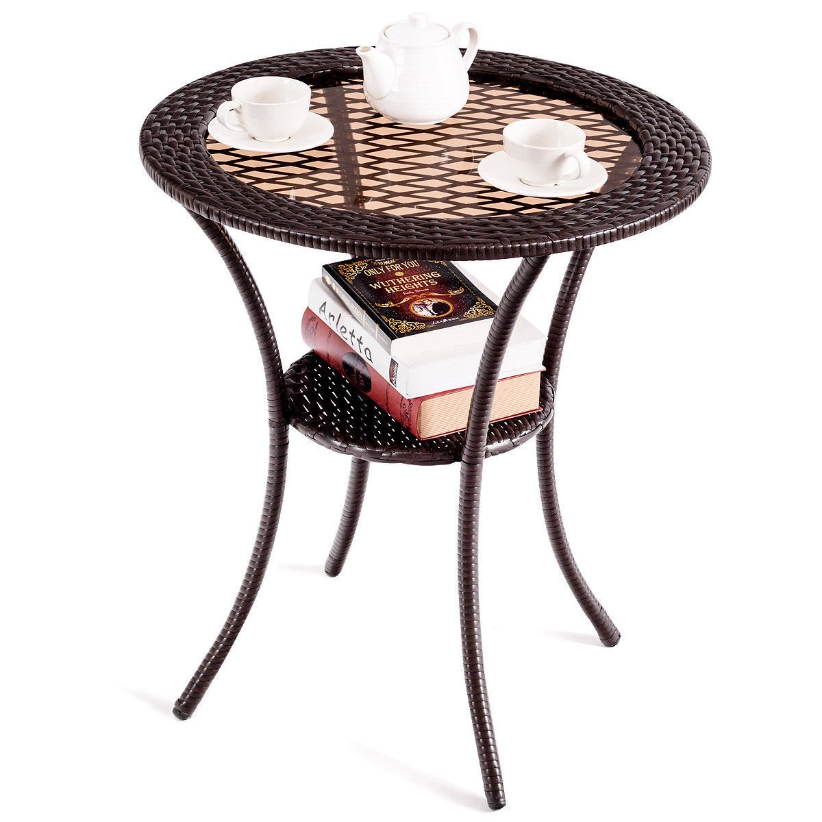 Tremendous Gymax Round Rattan Wicker Coffee Table Glass Top Steel Frame Home Remodeling Inspirations Genioncuboardxyz