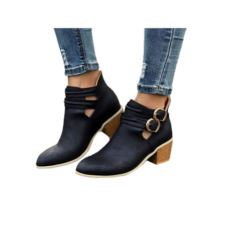 Womens Mid Block Heel Buckle Casual Ankle Boots Pointed Toe Martin Booties Shoes (Womens Ankle Boots Size 8)