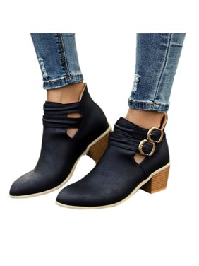 ea278872993 Product Image Womens Mid Block Heel Buckle Casual Ankle Boots Pointed Toe  Martin Booties Shoes