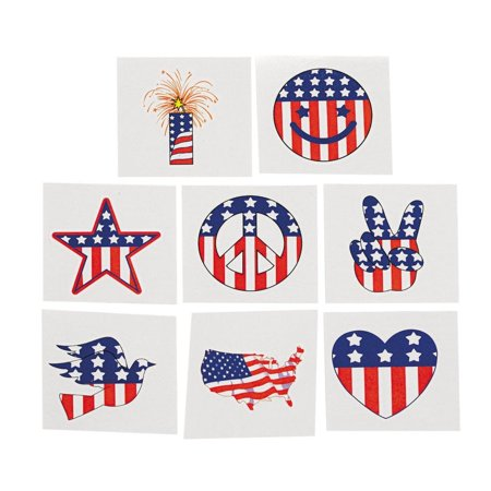Fun Express - Patriotic Tattoos (6dz) for Fourth of July - Apparel Accessories - Temporary Tattoos - Regular Tattoos - Fourth of July - 72 - Armour Of God Tattoo