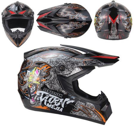 Motorcycle Adult Motocross Off Road Helmet ATV Dirt Bike MTB DH Racing Helmet Black 4 (goggles + red gloves + mask)