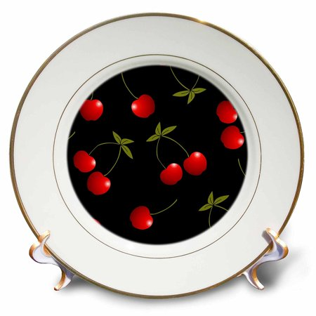 3dRose Cherry Print Juicy Red Cherries on Black, Porcelain Plate, 8-inch for $<!---->