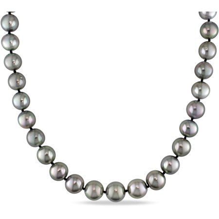 10-13mm Black Round Tahitian Pearl and Diamond-Accent 14kt White Gold Graduated Strand Necklace, 18