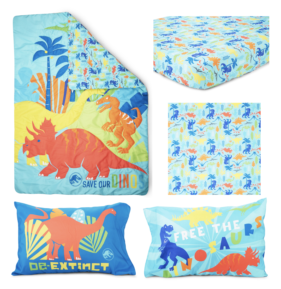 Smart Linen Kids//Toddler//Boys Bedspread Set Baby Dinosaur Palm Trees Dinosaurs Foot Steps Green White Red Aqua Orange New # Baby Dinosaur Full//Queen