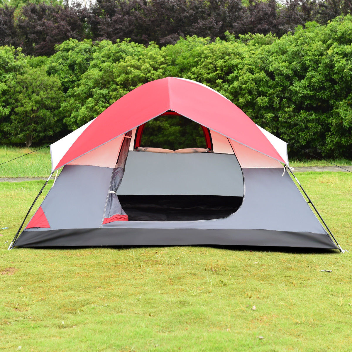 Gymax Portable 4 Person Family Tent Easy Set-up Outdoor Camping Hiking Rainproof w/Bag