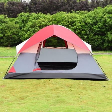 Gymax Portable 4 Person Family Tent Easy Set-up Outdoor Camping Hiking Rainproof