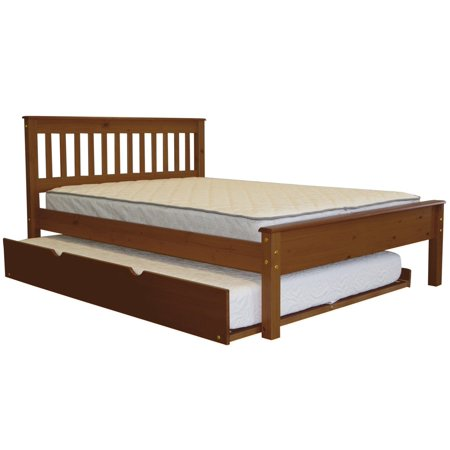 BK Mission Style Full Bed with a Full Trundle Expresso Mission Style Open Slat