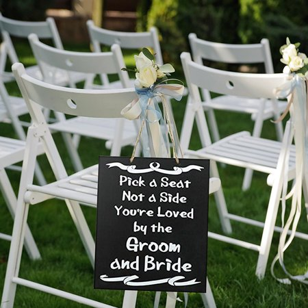 JennyGems Wood Wedding Sign Pick A Seat Not A Side Youre Loved By The Groom and Bride](The Bride Is Coming Sign)