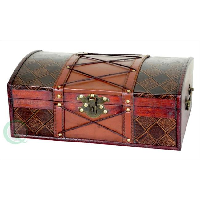 Quickway Imports QI003033 Pirate Treasure Chest with Leatehr X