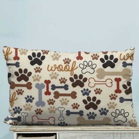 GCKG Dog Paws and Bones Pillow Case Pillow Cover Pillow Protector Two Sides 20 x 30 Inches ()